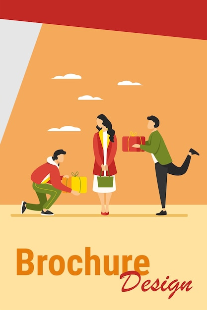 Young woman getting gifts from adorers. presents, admirers, rivals in love flat vector illustration. giving gifts, dating, relationship concept Free Vector
