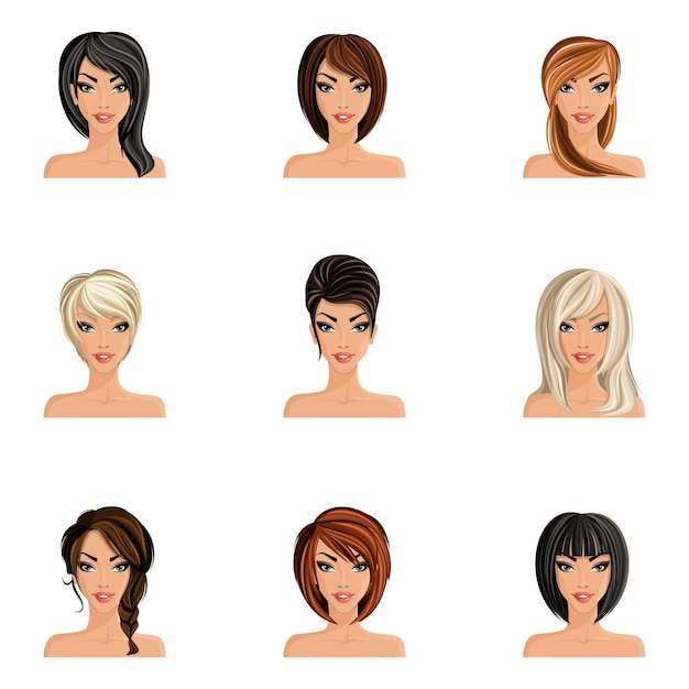 Young woman girl avatars set with haircut\ styles isolated vector illustration