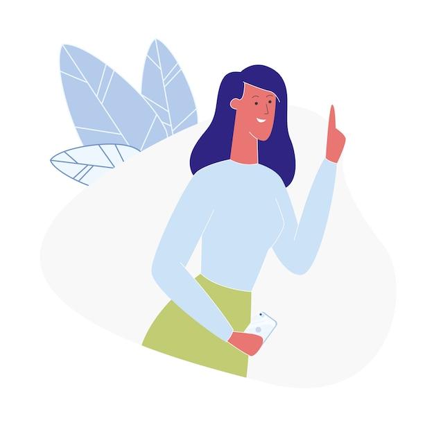 Young woman having idea flat illustration Premium Vector