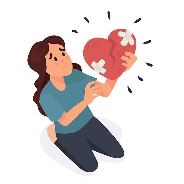 Young woman holding a broken heart Premium Vector