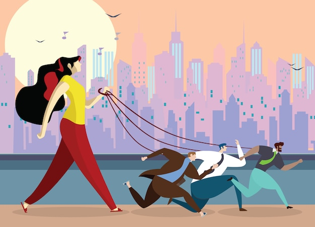 Young woman holding  dog leash Premium Vector