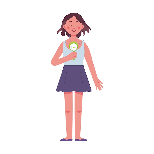 A young woman holding an electric hand fan on a very hot day Premium Vector