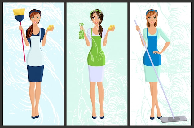 Young woman housewife set cleaning with spray and sponge full length portrait banners isolated vector illustration Free Vector