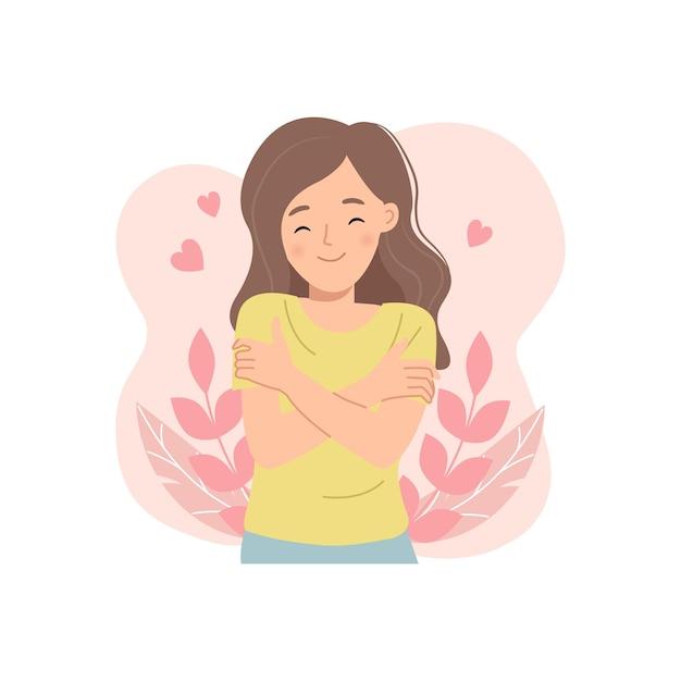若い女性は自分を抱きしめます。自己愛の概念。高い自尊心。フラットスタイルの漫画。 Premiumベクター