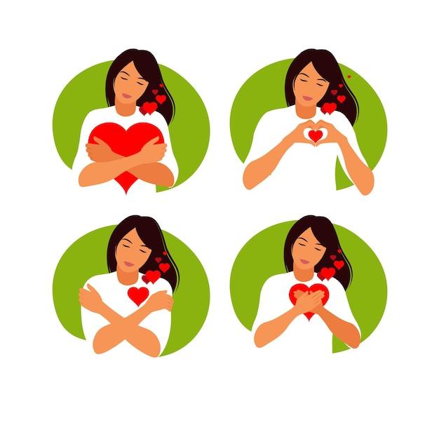 若い女性は愛と思いやりで大きな心を抱きしめます。セルフケアとボディポジティブコンセプト。フェミニズム、あなたの権利のために戦う、女の子の力の概念。 Premiumベクター