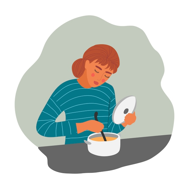 Young woman is cooking soup Premium Vector