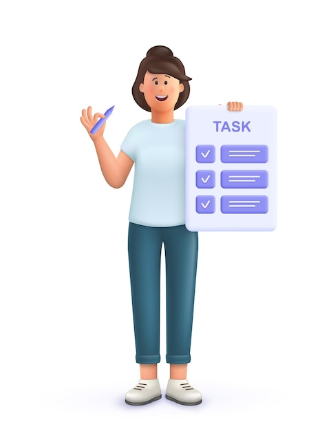 Young woman jane with tasks on paper sheets, planning schedule to finish task on time. deadline, as