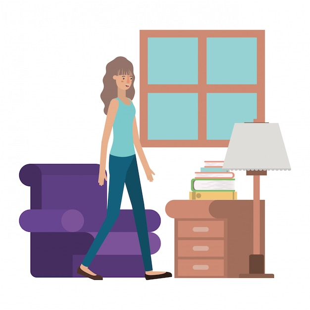 Young woman in the livingroom avatar character Premium Vector