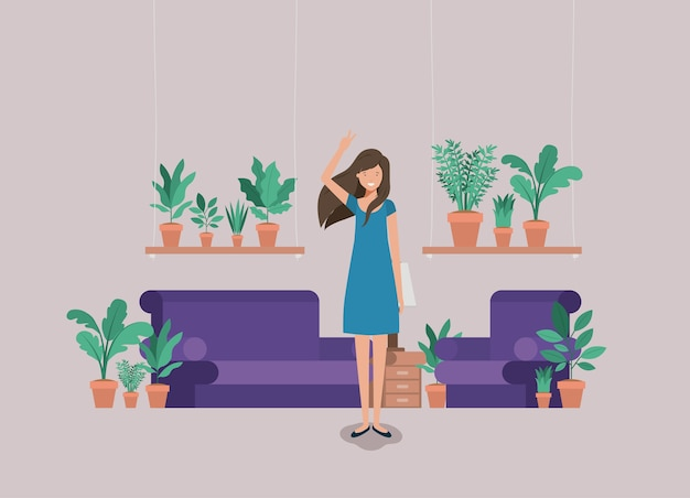 Young woman on the livingroom Premium Vector