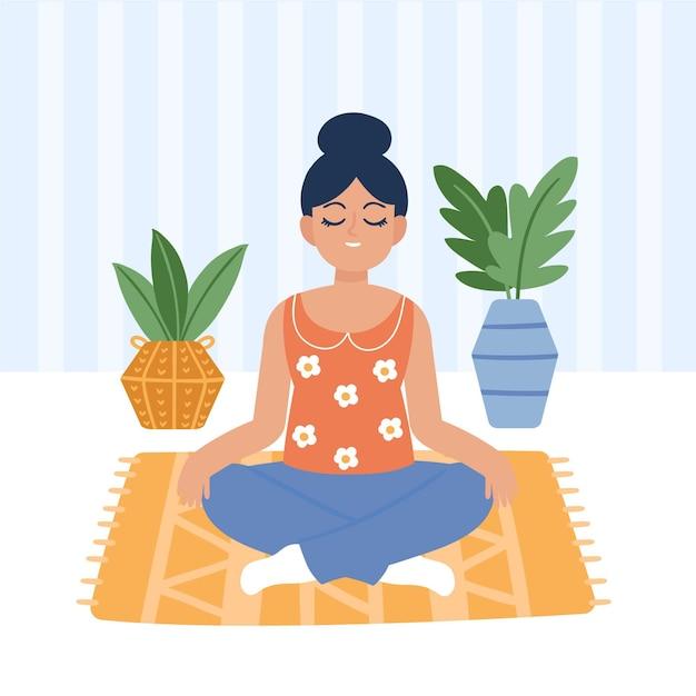 Молодая женщина медитирует проиллюстрировано Бесплатные векторы
