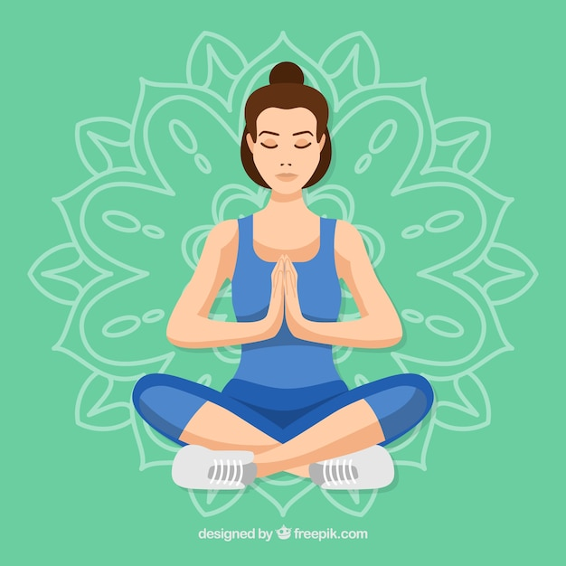 Young woman meditating Free Vector