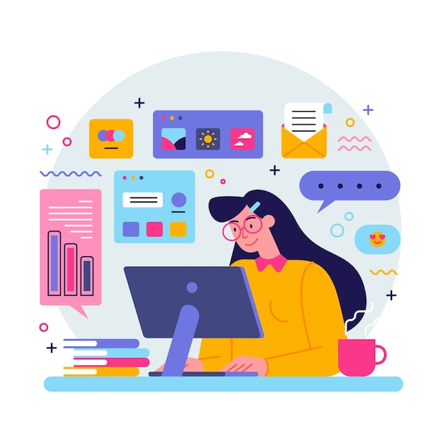 Young woman multitasking concept Free Vector