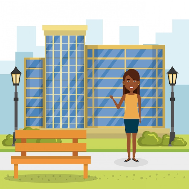 Young woman outside house Free Vector
