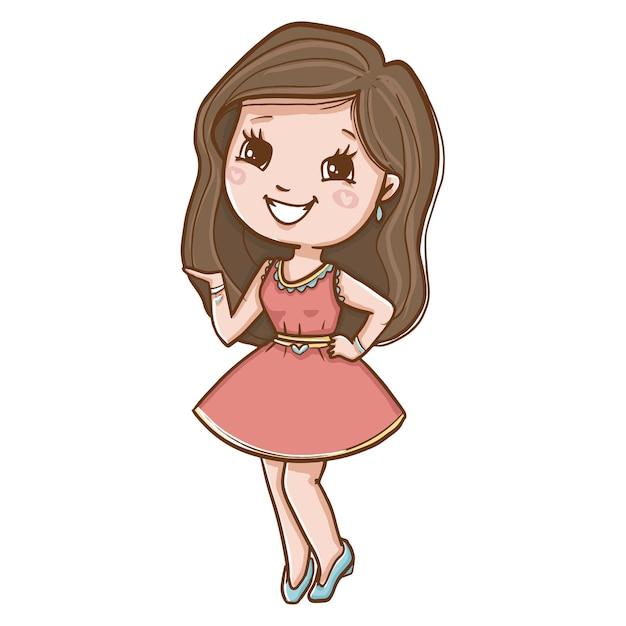 Giovane donna in abito rosa sorridente Vettore gratuito