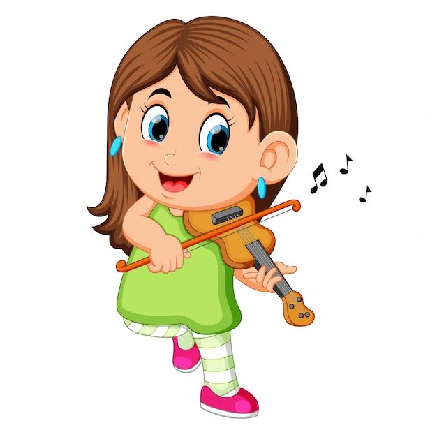 Young woman playing violin Premium Vector