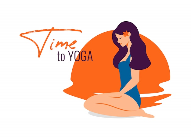 Young woman practicing yoga on a beach at sunset. Premium Vector