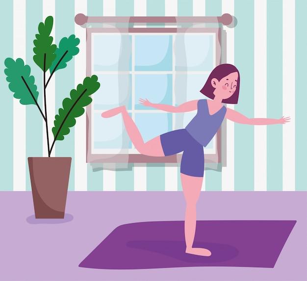 매트 활동 스포츠 운동 집에서 요가 연습하는 젊은 여자 프리미엄 벡터
