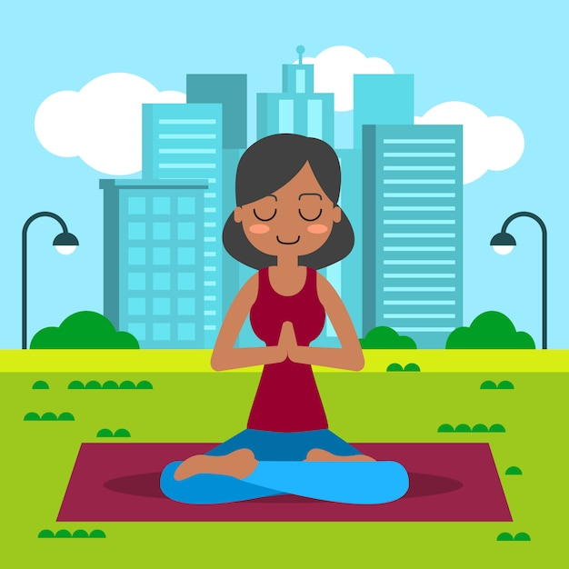 Young woman practicing yoga in lotus pose. Free Vector