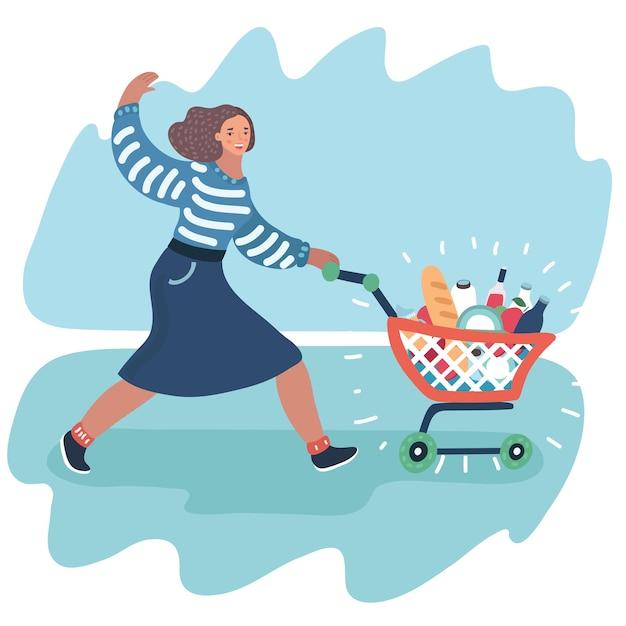 Молодая женщина толкает тележку супермаркета, полную продуктов Premium векторы