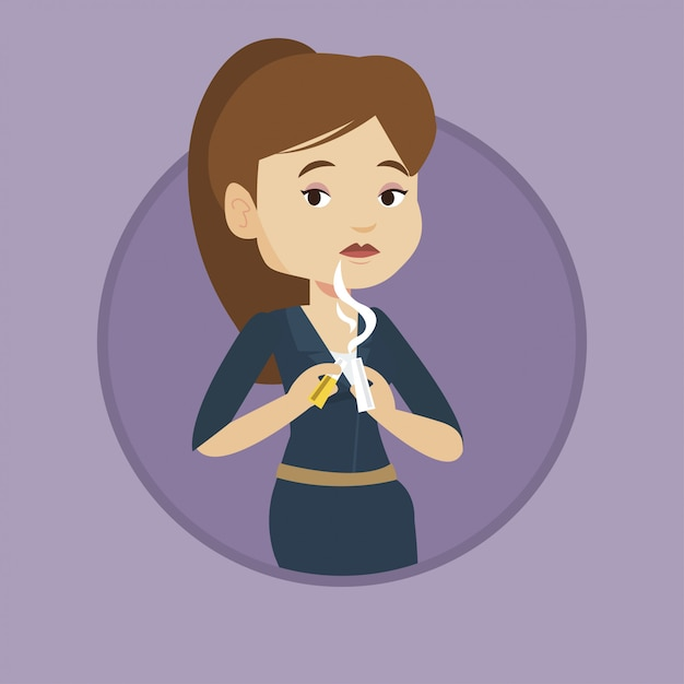Young woman quitting smoking. Premium Vector