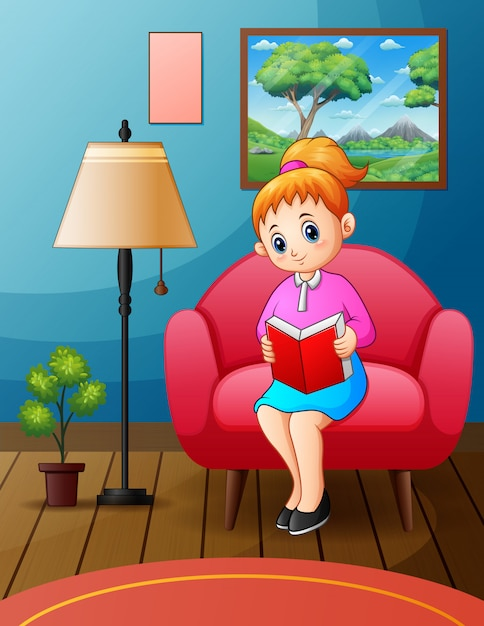 Young woman reading book on chair at home Premium Vector