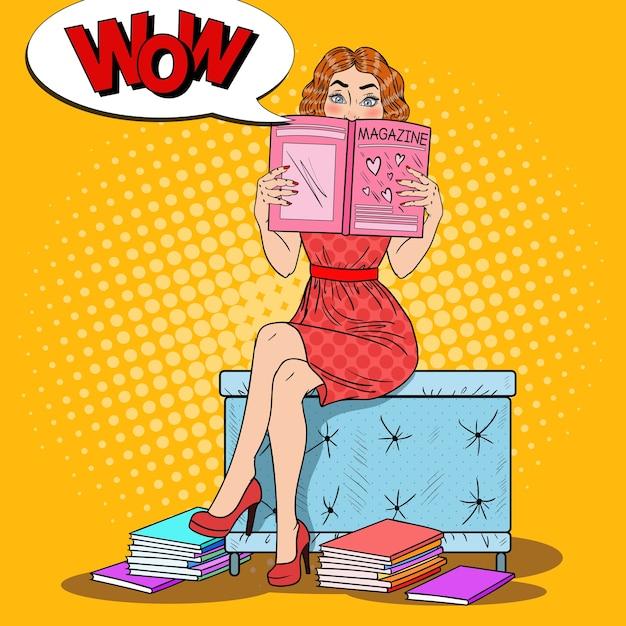 若い女性の読書ファッション誌 Premiumベクター