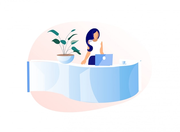 Young woman receptionist stand behind of desk Premium Vector