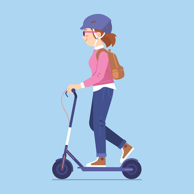 Young woman riding kick scooter, Premium Vector