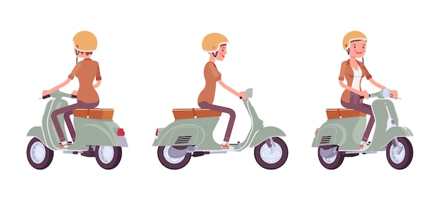 Young woman riding a scooter Premium Vector