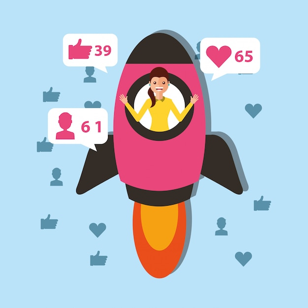 Young woman in rocket launch start viral content Premium Vector