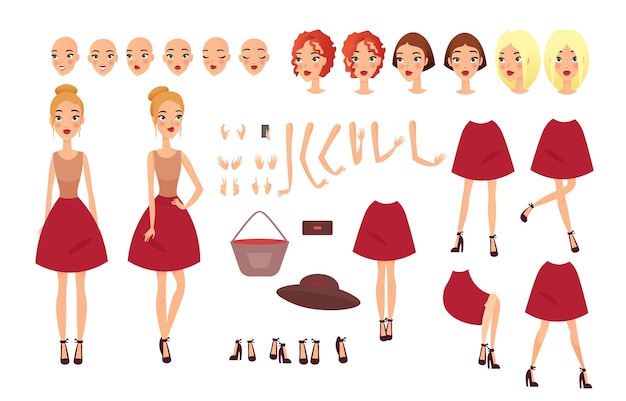Young woman set with different positions. famale faces, hairstyles, different views, emotions Premium Vector