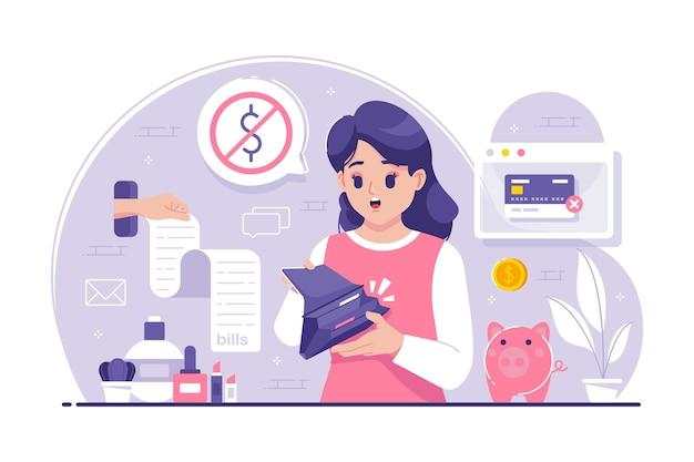 お金のない財布を示す若い女性 Premiumベクター