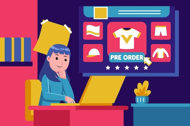 Молодая женщина сидит, чтобы купить продукты с ноутбуком Premium векторы