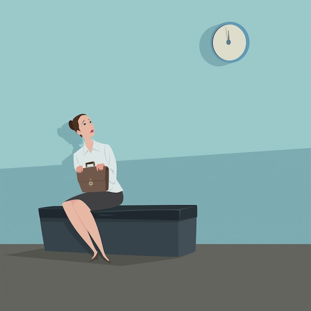 Young woman sitting on the chair looking the clock waiting for someone. Premium Vector