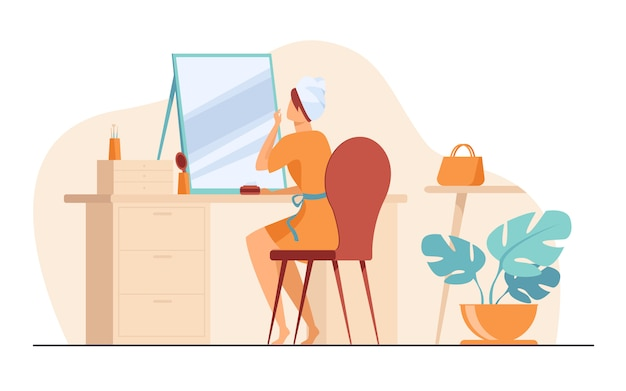 Young woman sitting in front of mirror flat illustration Free Vector