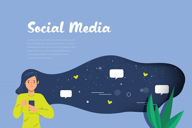 Young woman on social media infographic for chatting. Premium Vector