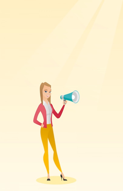 Young woman speaking into a megaphone. Premium Vector