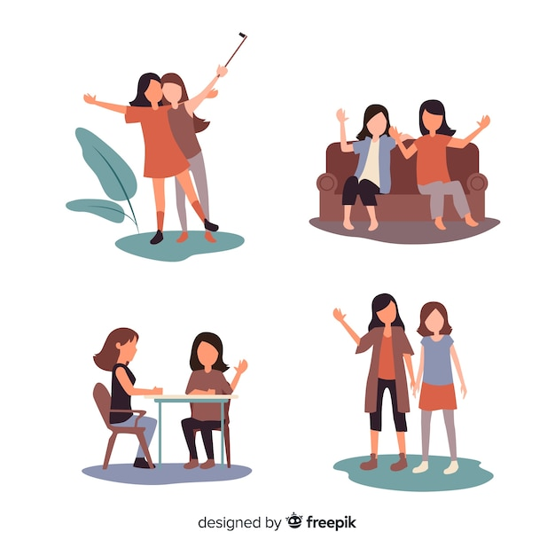 Young woman spending time together Free Vector
