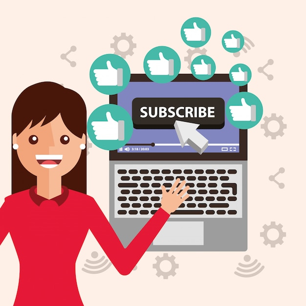 Young woman subscribe channel laptop likes Premium Vector