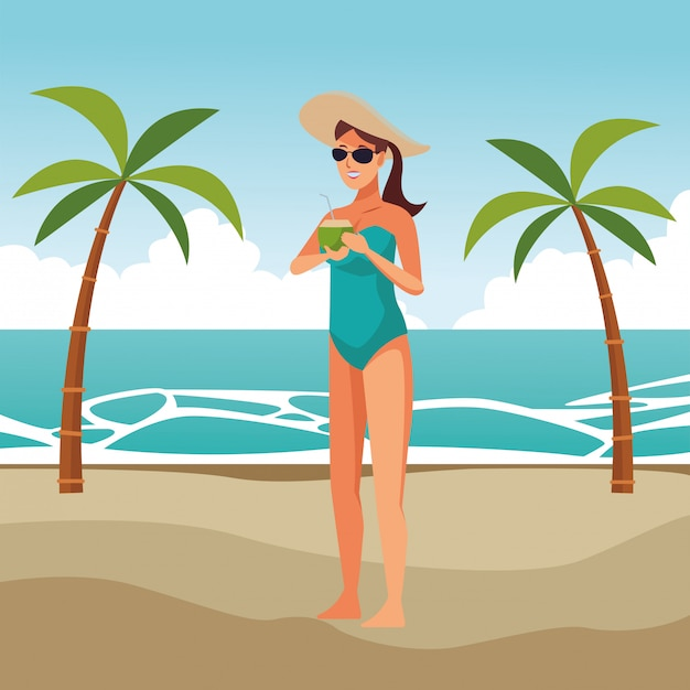 Young woman in swimsuit cartoon Free Vector