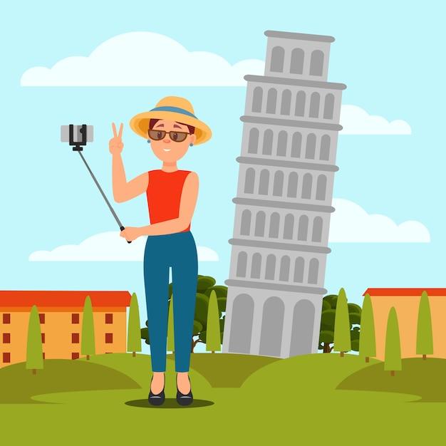 Молодая женщина принимая selfie перед пизанской башней. отдых в италии. красочный плоский природный ландшафт Premium векторы