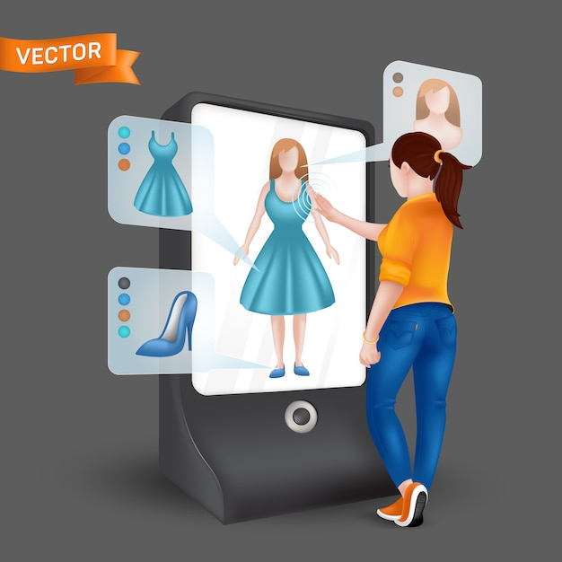 フィッティングシミュレーション機能を備えた3 d仮想ディスプレイミラーの前に服をしようとしている若い女性。タブレットの拡張現実を介したオンラインショッピングのイラスト Premiumベクター