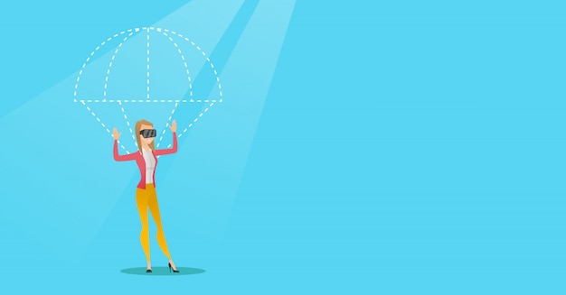 Young woman in vr headset flying with parachute Premium Vector