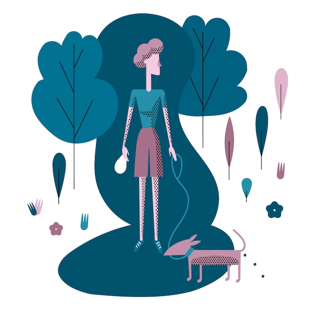 Young woman walking the dog in park Premium Vector