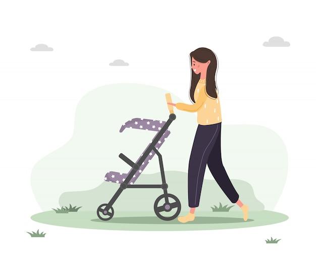 Молодая женщина гуляет с новорожденным ребенком в детской коляске. девушка сидит с коляской и младенцем в парке на открытом воздухе. Premium векторы