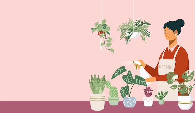 屋内鉢植えのイラストに水をまく若い女性 Premiumベクター