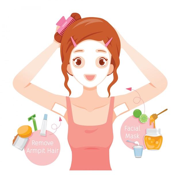 若い女性が彼女の脇毛をワックスし、彼女の顔をマスク Premiumベクター