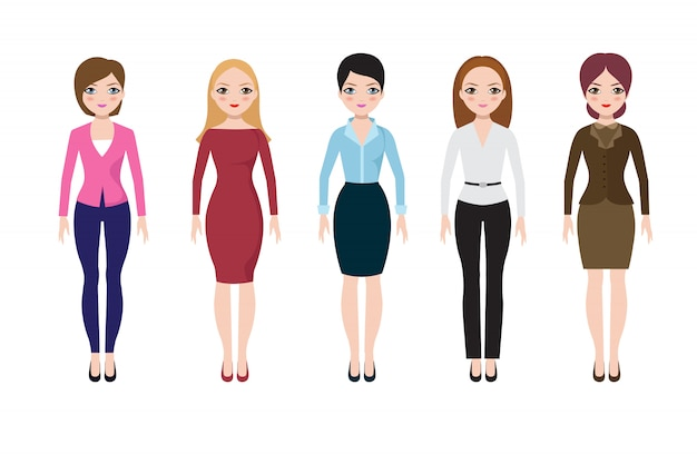 Young woman wearing in casual european suits. adult business women in blouse, skirt and pants vector set Premium Vector