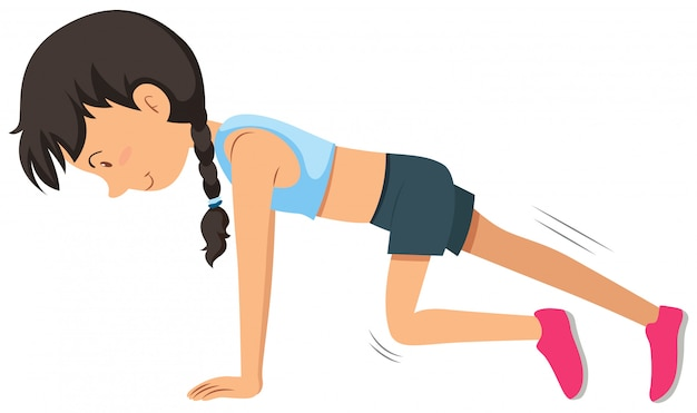 A young woman weight training exercise Free Vector