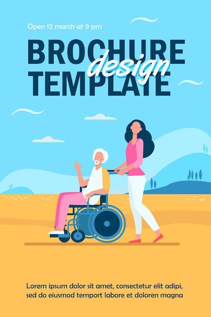 Молодая женщина на инвалидной коляске с шаблоном флаера старшего мужчины Бесплатные векторы